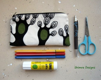 Trees of Dreams 100% Cotton Fabric Pouch with Matching Zipper. Fully Lined. Perfect as Cosmetics Pouch, Pencils Case or Bag Insert.