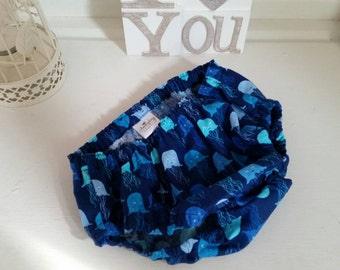 Handmade nappy cover age 12-24 mths months, handmade in designer fabric, jellyfish design