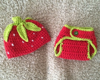 Strawberry Hat and Diaper Cover