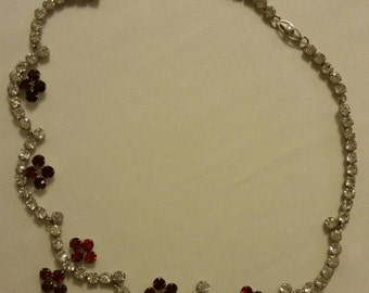 N4 Vintage Silver Tone Rhinestone Collar Necklace with Red Rhinestone Accents circa 1960s
