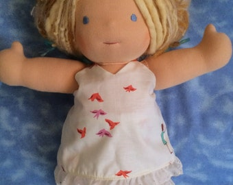 "Waldorf Doll - 15""   White Cotton Print Sunsuit with Bloomers"