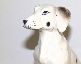 Vintage Black and White Dog Figurine Dalmation Fire Dog Collectible