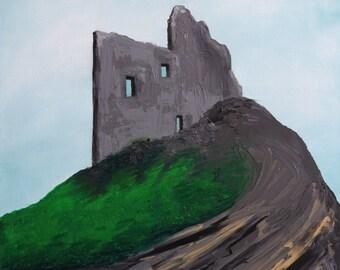 Original Acrylic Painting.  Ballybunion Castle.  Ireland.  16x20 inches.