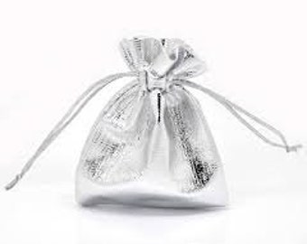 10 - Silver Tone Satin Gift Bags With Drawstring 9cm x 7cm
