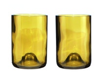 Set of Two 14 oz Light Amber Wine Bottle Glasses with Optional Etching
