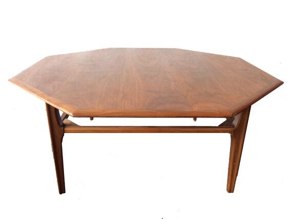 Mid Century Modern Octagon Coffee Table - 1960s Vintage Solid Wood Coffee  Table - Mad Men - Mid Century Modern Octagon Coffee Table 1960s Vintage Solid