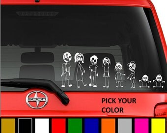 Zombie Family Car Decal (Stick Figure)