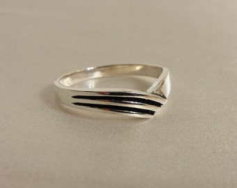 925 5mm Sterling Silver Chevron Ring
