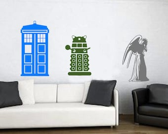 LARGE Doctor Who Wall Decal, Tardis Wall Decal, Dalek Wall Decal, Weeping Angel Wall Decal