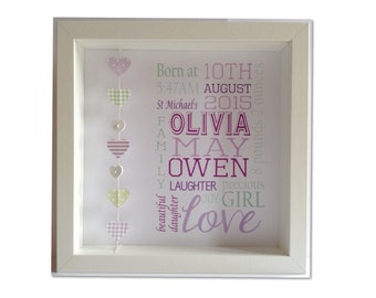 Personalised Baby Girl Birth Print Frame