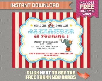 Circus Carnival Invitation with FREE Thank you Card!- Circus Birthday - Carnival Birthday - Edit and print at home with Adobe Reader