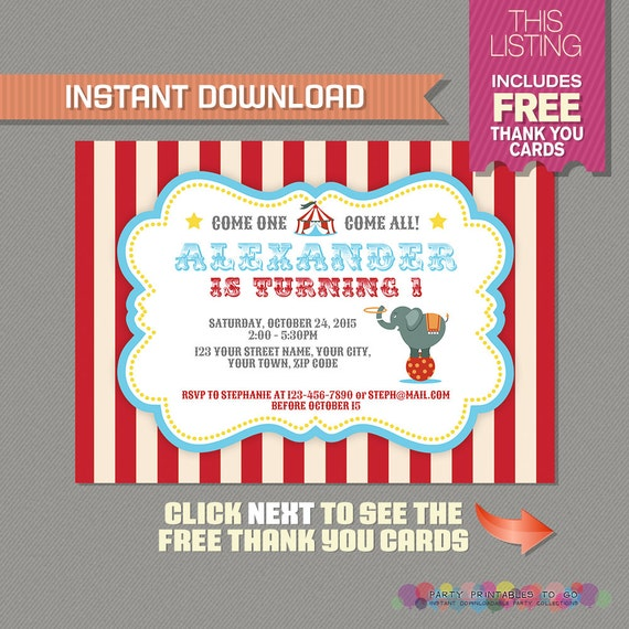 Circus Carnival Invitation with FREE Thank you Card Circus – Free Birthday Card to Print at Home