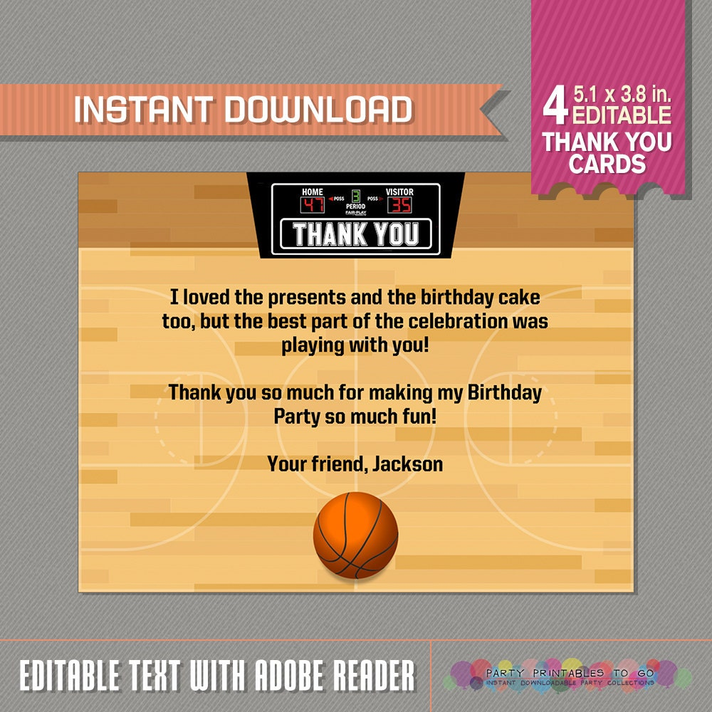 Thank You For Your Business Basket: Basketball Thank You Card Basketball Party Basketball