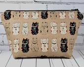 Lucky Cat Makeup Bag, Maneki Neko Cat Bag, Japanese Cat, School Supplies, Large Makeup Bag.