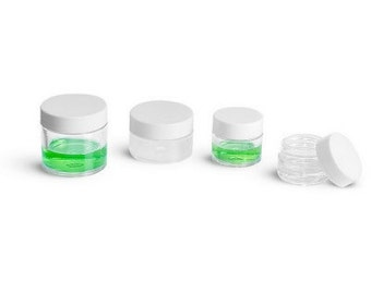 Plastic Jar Clear with White Cap-6 Pack 1/8oz.