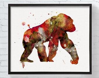 Watercolor Gorilla, Gorilla Art Print, Gorilla Painting, Poster, Nursery Wall Art, Kids Room Decor, Childrens Room Decor, Boys Room Decor