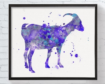 Goat Art Print, Watercolor Goat, Goat Painting, Goat Poster, Goat Wall Decor, Nursery Decor, Farm Animals, Farmhouse Decor, Kids Room Decor