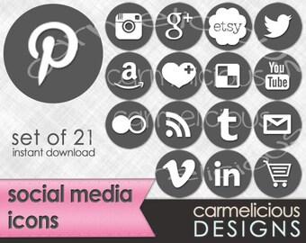 21 Circle Social Media Icons in Grey #585858