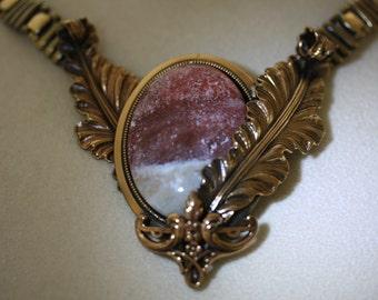 Ermani Bulatti Vintage Stone and Hammered Metal Necklace