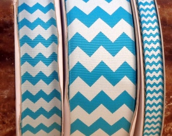 "2 Yards 3/8"", 7/8"" or 1.5"" Turquoise Blue Chevron Print Grosgrain Ribbon - US Designer"