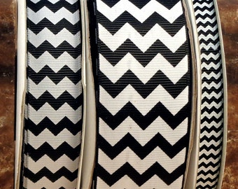 "2 Yards 3/8"", 7/8"" or 1.5"" Black Chevron Print Grosgrain Ribbon - US Designer"