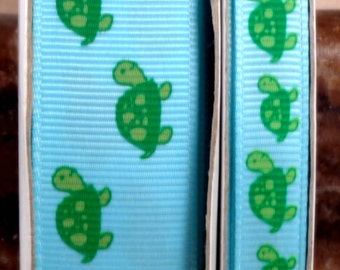 "2 Yards 3/8"" or 7/8"" Green Turtles Print on Blue Grosgrain Ribbon - US DESIGNER"