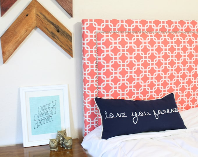 Twin Upholstered Headboard, Coral and White, Nickel Nailhead, Oxford Shape
