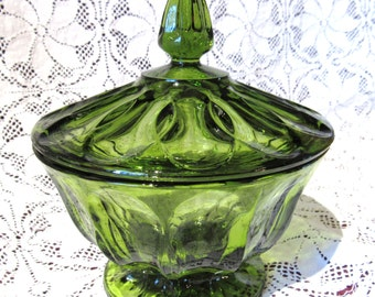 Vintage Green Glass Candy Dish Fairfield Pattern Glass - Excellent Condition!