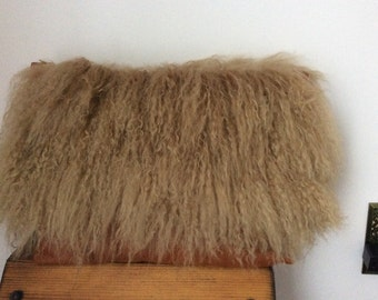 Brown leather and Mongolian Lamb Fur clutch handbag purse