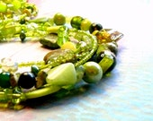 Spring Green 5-Strand Necklace with Earrings: Stone, Shell, Glass