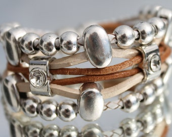 multirow leather Bracelet with magnetic clasp