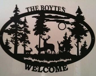 Custom Deer Welcome Sign