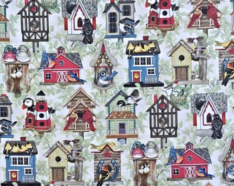 Birds and Bird Houses Fabric by Elizabeth's Studio | cotton fabric by the yard | quilting fabric | country fabric | home decor fabric