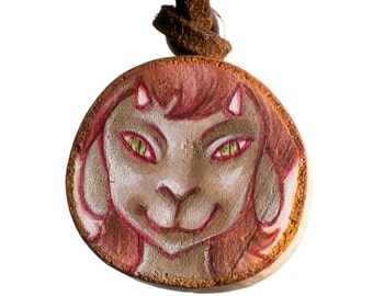 Misheif Satyr - illustrated wooden pendant necklace