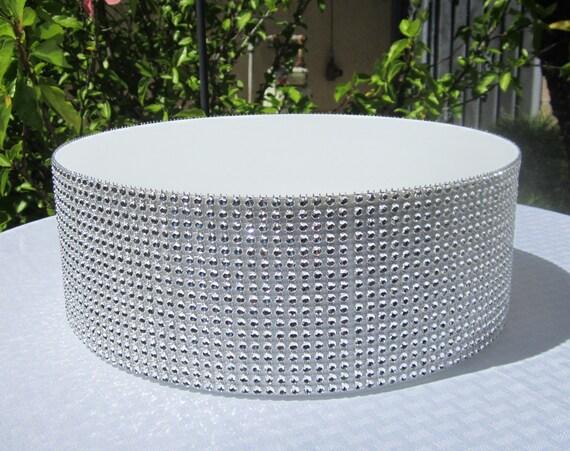 round wedding cake stand riser rhinestone mesh white laminated board