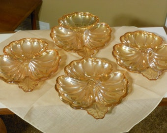 Set of Four Jeannette Marigold Carnival Glass Cloverleaf Candy/Relish Dishes