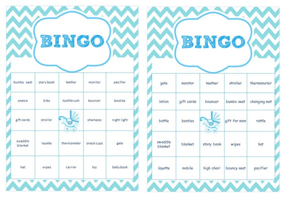 baby shower bingo cards prefilled with baby gift words boy baby