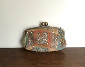 Vintage 90s Beaded Paisley Clutch Purse