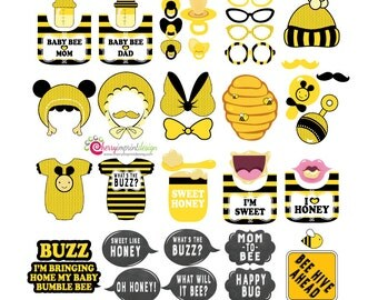 42 Hilarious Bumble Bee Baby Shower Photo Booth Props INSTANT DOWNLOAD DIY (Pdf)