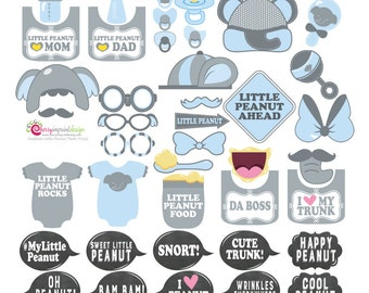 40 Adorable Elephant Little Peanut Baby Shower Birthday Photo Booth Props - Gray and Blue - INSTANT DOWNLOAD DIY (Pdf)