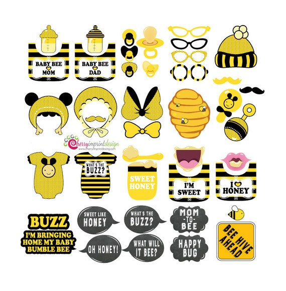42 Hilarious Bumble Bee Baby Shower Photo Booth Props INSTANT DOWNLOAD DIY Pdf