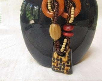 Vintage beaded statement necklace - African layered tribal circle beads