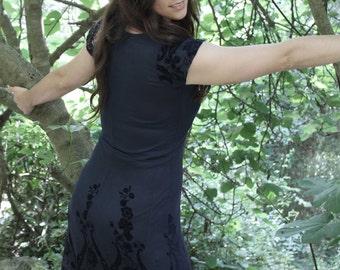 Velvet flowers dress -
