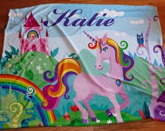 Personalized Fantasy Unicorn Blanket,  Extra Large 50x60 or 60x80 Girls Custom Bedding, Vibrant Color Custom Blankets, Girls Room Decor
