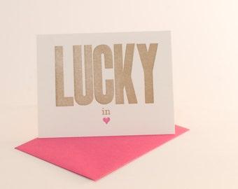 lucky in love letterpress card