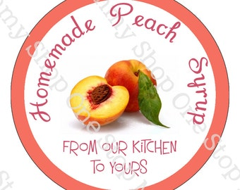 Peach syrup canning lid  labels