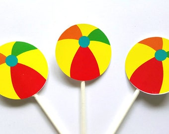Beach Ball Cupcake Toppers - Beach Cupcake Toppers - Beach Party Cupcake Toppers