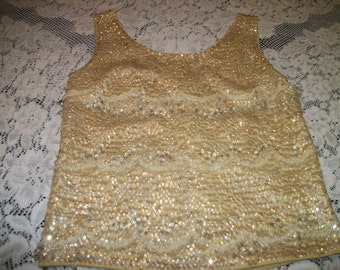 a Darling 60s 70s Go-Go Lemony Yellow BEADED SHELL, small w a zipper in back