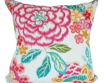 Kaufmann Ikat Floral Throw Pillow Cover - Decorative Pillow - Both Sides - 12x16, 12x20, 14x18, 14x24, 16x16, 18x18, 20x20, 22x22