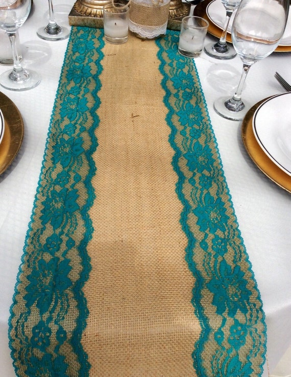 Burlap Table Runner With Teal Jade Lace By Lovelylacedesigns
